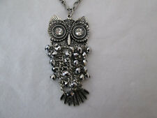 "Silvertone 3 1/4"" Owl Pendant Necklace With Crystal Eyes & Faceted Beaded Body"