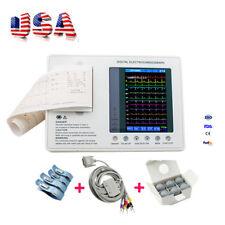 US Sale Digital 3-Channel 12-lead ECG/EKG Machine Electrocardiograph FDA+SPO2