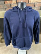 Vintage Women's Blank Blue Soft Hooded Sweatshirt Womens Size Medium