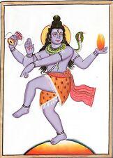 Mahadev Shiva Painting Handmade India Hindu Deity Silk Watercolor Spiritual Art