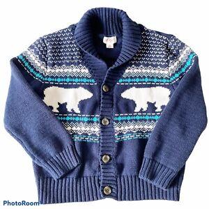 Cat Jack Boys 5T Polar Bear Shawl Collar Knit Cardigan Winter