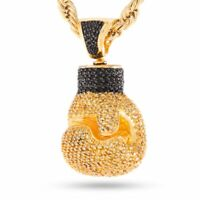 """24"""" Men's Hip Hop 18K Gold Finish Iced Out Boxing Gloves Pendant Necklace Chain"""