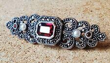 Judith Jack Sterling Silver .925 Garnet Pearl & Marcasite Vintage Bar Pin Brooch