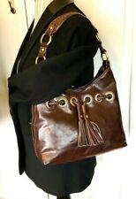 Tommy Hilfiger Handbag Brown Weaved Faux Leather Tassles Shoulder Hobo Bag Purse