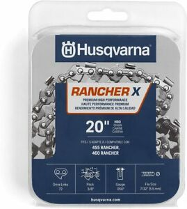 "NEW Husqvarna Rancher X  20"" Chainsaw Chain H80 .050  3/8 Pitch Fits 455 460"