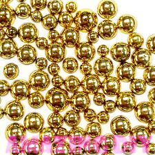 200 pcs 3mm - 6mm Gold acrylic faux round Shiny Half Pearls Flatback Mix SIZE