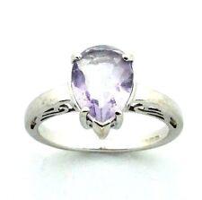 Ladies/Womens Pretty 9ct/9carat White Gold & Amethyst stone Dress Ring UK size N