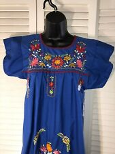 Mexican Embroidery Dress Blue L Girls L