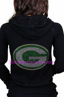 Green Bay Packers Jersey Bling Rhinestone Zipper Hoodie Sweater