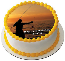 FISHING 7.5 PREMIUM Edible ICING Cake Topper CAN PERSONALISE FATHERS DAY MAN D4