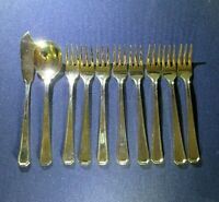 10 pieces Silverware Flatware Set 8 Cocktail Forks, spoon, knife Stainless Steel