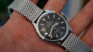 Stunning Vintage Omega Automatic Bumper Watch, Black Crosshair Dial, 1944