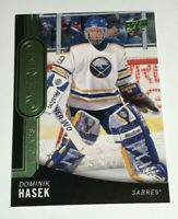 Dominik Hasek /99 made Overtime Green Insert Parallel Hockey Card 43 Sabres