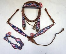 Showman Pink & Blue Feather Print Overlay Headstall Breast Collar Spur Strap Set