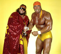 Mega Powers Hulk Hogan Macho Man Randy Savage WWF Unsigned 8x10 photo