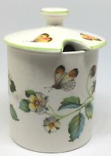 "James Kent ""Old Foley"" China Jam or Honey Pot ~ Strawberries Pattern ~ England"