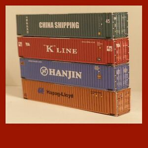 Shipping Container, Rail Freight, Card OO Scale 1:76 x12 Mixed 20ft 40ft 45ft