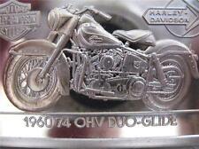 1.4-OZ.999 PURE SILVER BAR INGOT 1960 74 OHV DUO HARLEY DAVIDSON 90TH ANNIV+GOLD