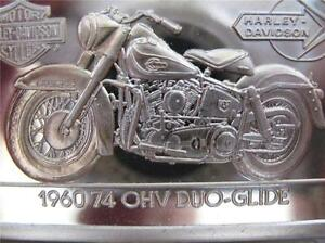 1.4-OZ.999 PURE SILVER BAR INGOT 1960 74 OHV DUO HARLEY DAVIDSON 90TH ANNIV+GOLD