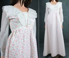 Vintage Prairie Girl Dress S Long White Pink Eyelet Lace Hippie Wedding Gown 70s