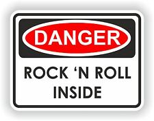 Danger Rock & Roll Avertissement Autocollant Voiture, Moto heavy metal guitar music band