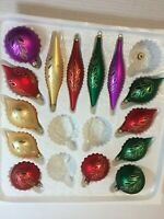 14 Vintage Christmas Tree Glass Ornaments Tear Drop Round Purple Red Gold Green
