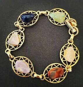 Multi natural stone gold star metal bracelet quartz Jasper onyx stunning unusual