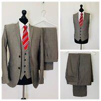 Mens Next 3 Piece Suit 38R 34W 29L Slim Fit Grey Formal Business  OR985