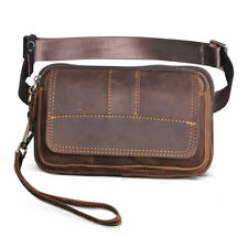 Mens Genuine Leather Travel Clutch Fanny Bum Waist Belt Bag Chest Sling Bag