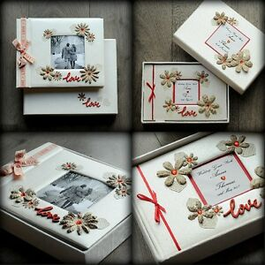 Luxury Personalised Wedding SET: Photo Album AND Guest Book/ Handmade Boxed