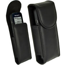 Black Genuine Leather Case Cover for Sony ICDUX533 Digital Voice Recorder