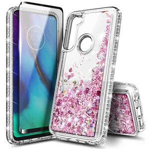 For Motorola Moto G Pro Case Liquid Glitter Bling Phone Cover +Tempered Glass