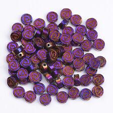 Natural Gemstone Hematite Rose Flower Spacer Loose Beads Rose Gold 6mm 8mm
