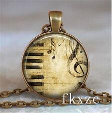 Vintage Guitar Music Cabochon bronze Glass Chain Pendant Necklace