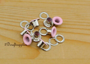 eyelets metal with washer grommets pink round 100 sets 4 mm AC72F