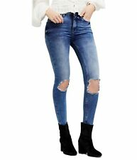 Free People Womens Busted Knee Skinny Fit Jeans, Blue, 25