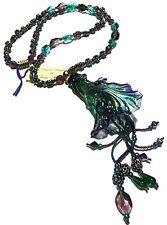 NEVA BURBA HAND BLOWN LILY FLOWER GLASS PENDANT LUSTER CRYSTAL VINTAGE NECKLACE