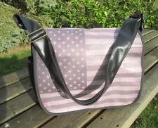 Sac à main noir en bandoulière imprimé drapeau USA vintage