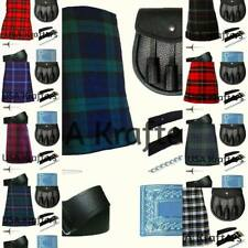 NEW MEN'S SCOTTISH 7 PIECES KILT OUTFIT PACKAGE - AVAILABLE IN 30 TARTANS