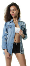 New WOMENS Faded Stonewash Denim Jacket Mid Blue Waist Jeans Coat 6 8 10 12 14