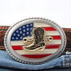 Boot American Flag Patriotic Western Belt Buckle Gift For Cowboy Veteran