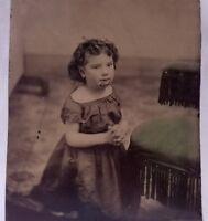Antique Tintype Photo Of Smallpox Survivor Little Girl Praying