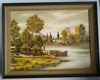 """Thai Village River Boats Landscape Painting Signed ANEK 82 Framed 36.5"""" X 28.5"""""""