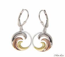925 Sterling Silver Tricolor Hawaiian 15mm Ocean Wave Leverback Dangle Earrings