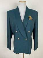 *FLAWS* VTG 90s Dark Emerald Green Blazer S / M Double Breasted Jacket Chic