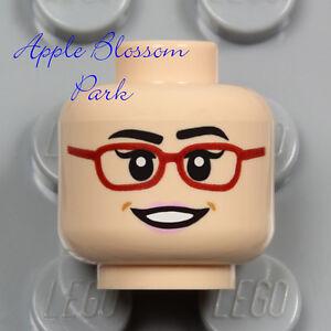 LEGO Light FLESH FEMALE MINIFIG HEAD - Red Glasses Pink Lips Lipstick Girl Smile