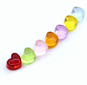 20pcs Resin transparent love heart crystal slime filling decoration accessories