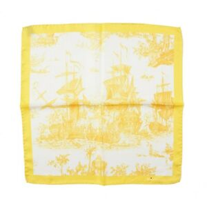 Kiton Lemon Yellow Historic Naval Ship Battle Print Silk Pocket Square