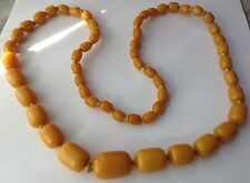ANTIQUE BUTTERSCOTCH AMBER BAKELITE CATALIN NECKLACE LARGE BEADS