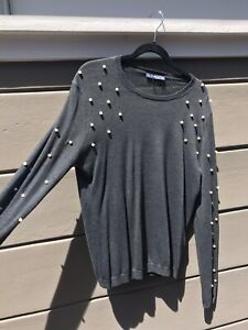 NWT - SOLD OUT - Zara Pearl Sweater in Gray - Size XL